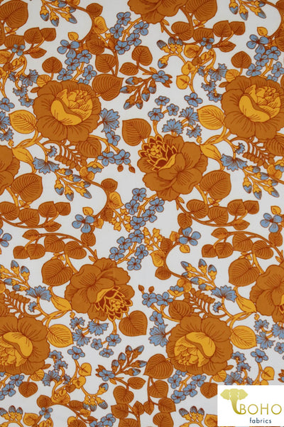 Lotus Vines in Marigold and Dusty Blue on Ivory. Double Brushed Poly Knit Fabric. BP-112-GOLD