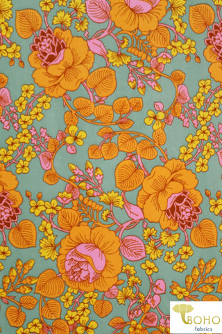 Lotus Vines in Yellows and Pink on Seafoam Green/Blue. Double Brushed Poly Knit Fabric. BP-112-GRN