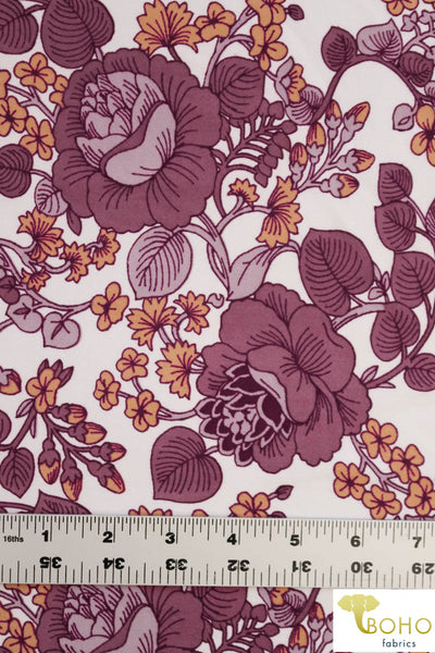 DBP: Lotus Vines in Mauve/Lavendar/Marigold on Ivory. Double Brushed Poly Knit Fabric. BP-112-MVE