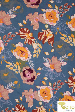 DBP: Cheerful Poppies on Blue Chambray. Double Brushed Poly Knit Fabric. BP-113-BLU