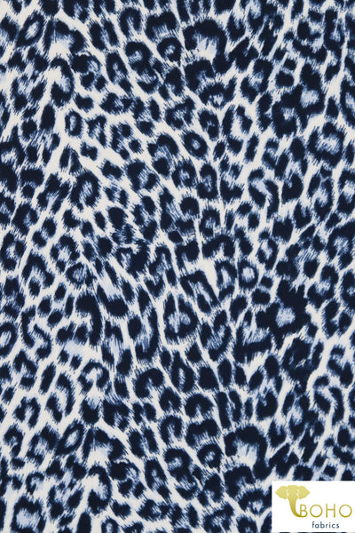 DBP: Blue Cheetah. Double Brushed Poly Knit Fabric. BP-111
