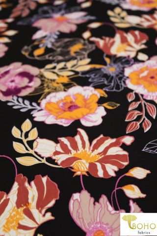 DBP: Cheerful Poppies on Black. Double Brushed Poly Knit Fabric. BP-113-BLK