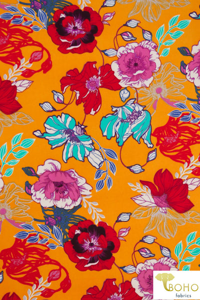 DBP: Cheerful Poppies on Bright Orange. Double Brushed Poly Knit Fabric. BP-113-ORG