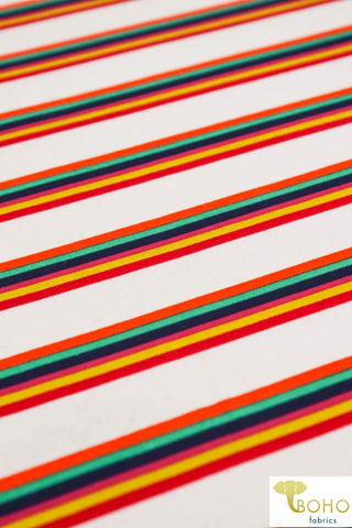 DBP: Playful Rainbow Stripes on White. Double Brushed Poly Knit Fabric. BP-110-WHT