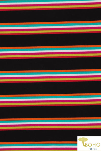 DBP: Playful Rainbow Stripes on Black. Double Brushed Poly Knit Fabric. BP-110-BLK