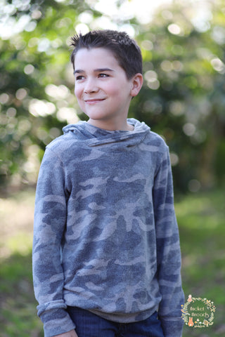 "Pale Gray Camo, ""Cashmere"" Brushed Sweater Knit. PRSW-107"