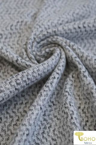 Pixelated Chevron on Gray.  Plush Brushed Sweater Knit. SWTR-124-GRY