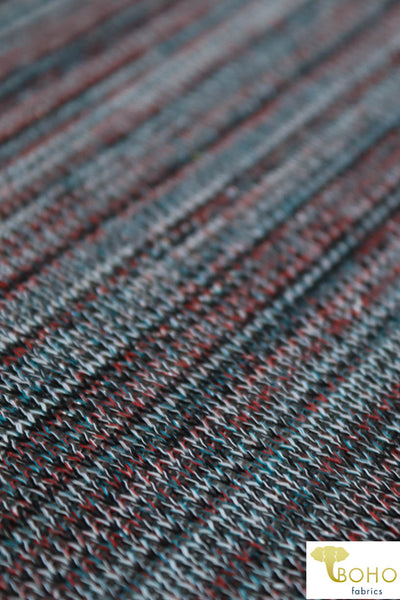 Metallic Yuletide. Red, Green, Teal, Black, & White Stripes. Loose Weave Sweater Knit. SWTR-116-BLK