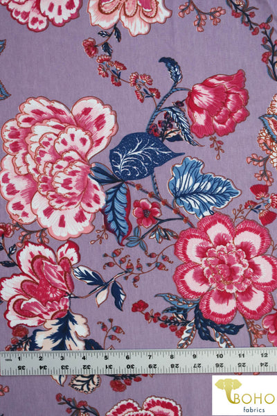 Folklore Flowers on Lilac. Ponte Di Roma Double Knit Fabric. PP-102-PURP.