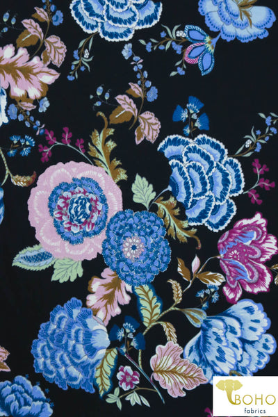 Folklore Flowers on Black. Ponte Di Roma Double Knit Fabric. PP-102-BLK.