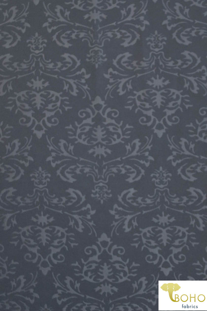 Embossed Damask on Gray. Scuba Knit Fabric. SCU-107.