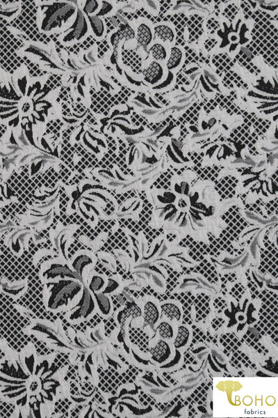 Black & White Floral Lattice. Jacquard Knit. JQD-101.