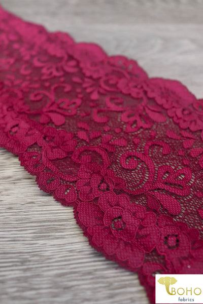 Flower Paradise in Burgundy. Stretch Galloon Lace Trim, 6""