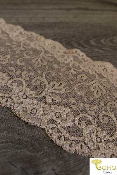 Flower Paradise in Ivory. Stretch Galloon Lace Trim, 6""