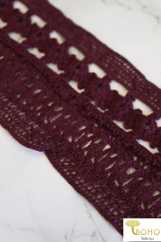 Folklore in Plum. Knitted Elastic, 2.5""