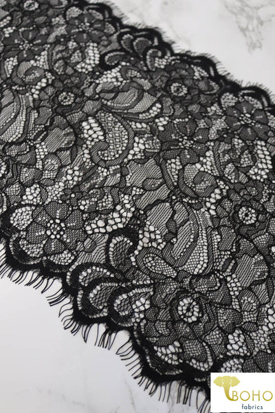 "Lacey Garden in Black. 8.25"" Woven Lace Trim."
