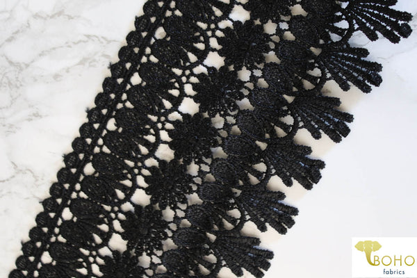 "Satin Floral Noche in Black. 4.5"" Woven Venice Lace Fringe."
