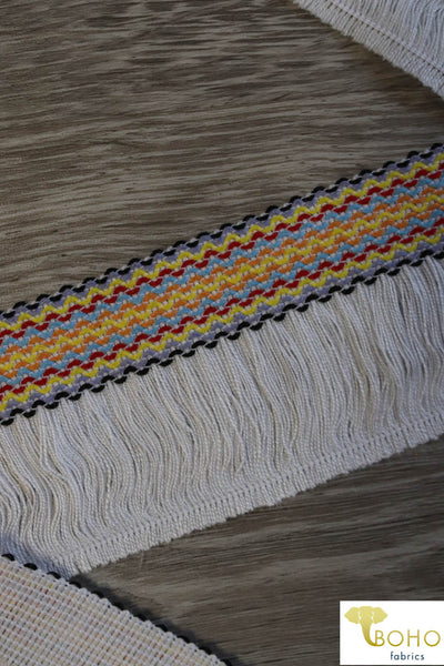 "Multicolor Boho on White. 2"" Woven Fringe."