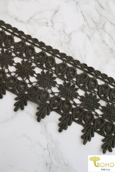 "Daisy Land Olive Green. 5"" Woven Trim.  WT-014"