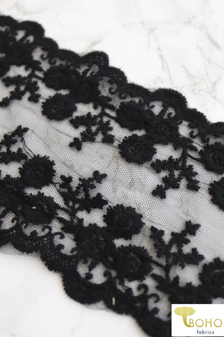 "Double Border Rococco Florals in Black. 4.25"" Woven Embroidered Lace Trim."