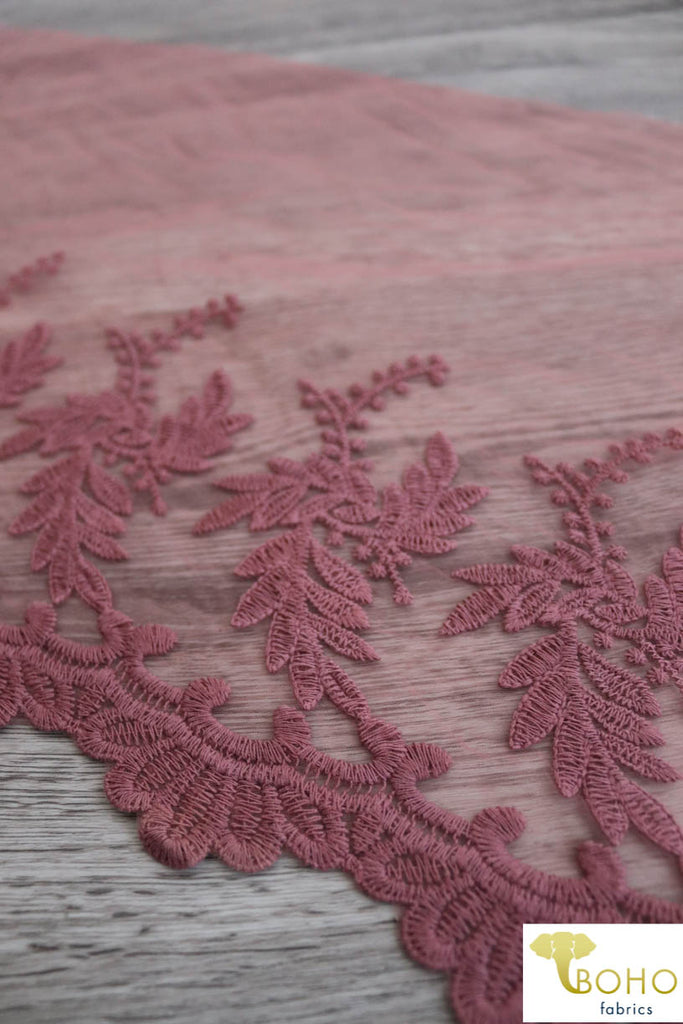 "Princess Vines in Mauve. 13.5"" Woven Lace Trim."
