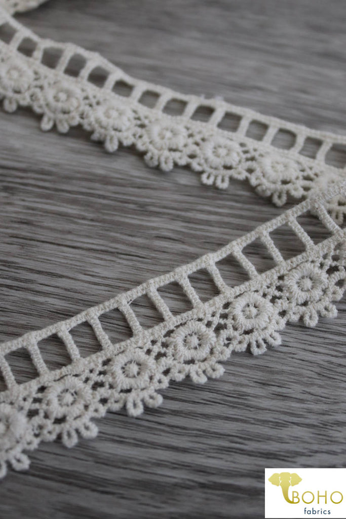 "Roman Florals in Ivory. 1"" Woven Trim."