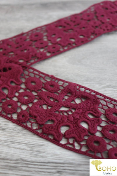 "Fantasy Florals in Burgundy. 2.25"" Woven Trim."