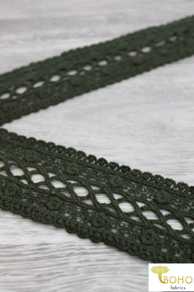"Flower Braid in Olive. 2"" Woven Trim."