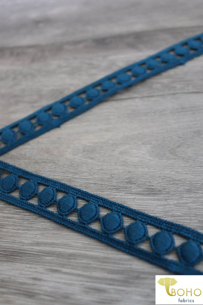 "Precious Gemstones in Teal. 3/4"" Woven Trim."