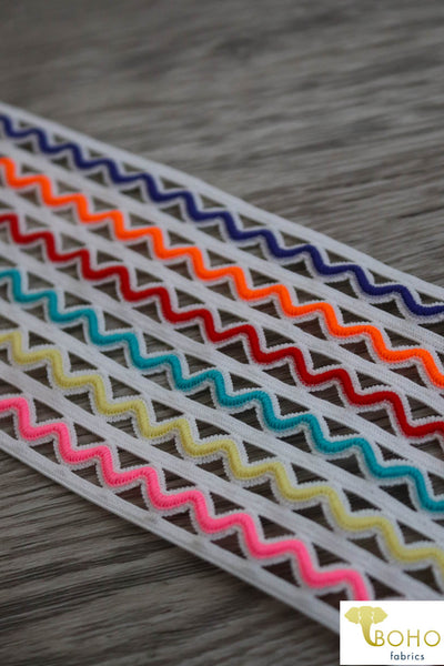 Multi Color Zig-Zag Elastic, 2.5""