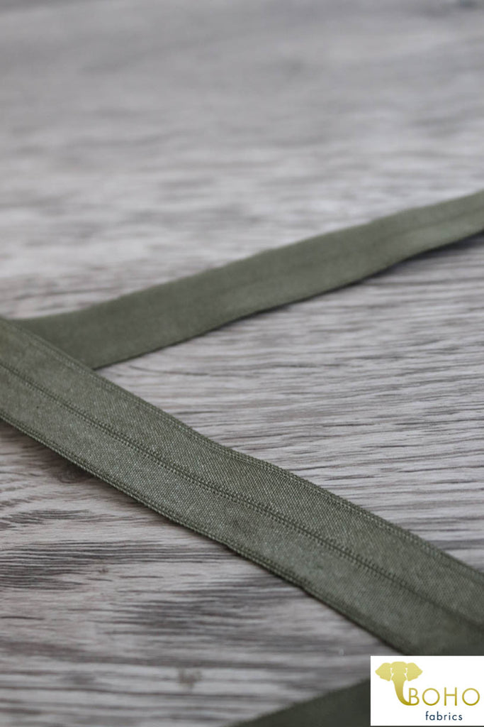 "Olive Green. 5/8"" Fold Over Elastic."