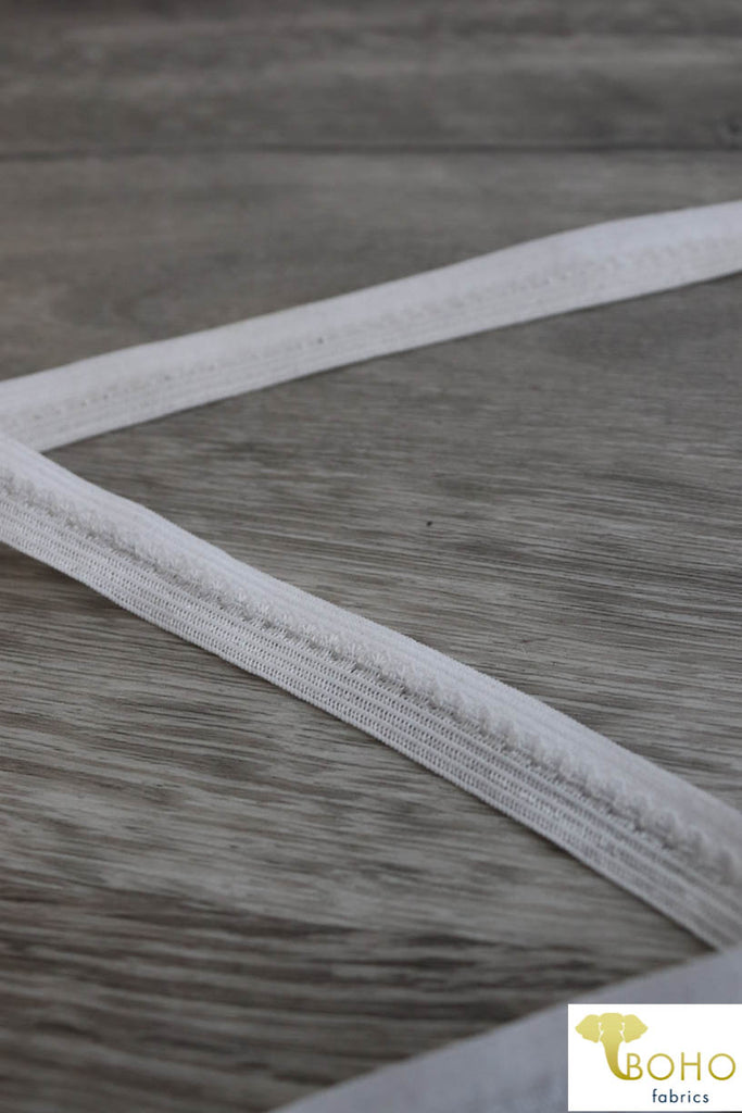 "White, 1/2"" Fold Over Picot Elastic."