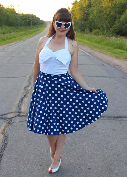 Betty Polka Dot Ponte.  Ponte di Roma Double Knit Fabric in Royal Blue.  Designer End