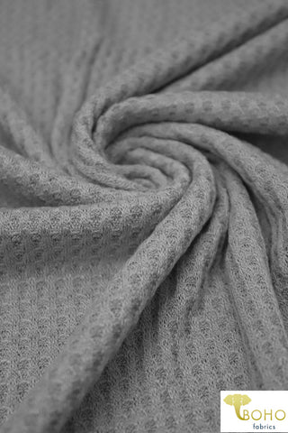 Heather Gray. Waffle Knit Fabric. WAFF-659 R/S-HGRY