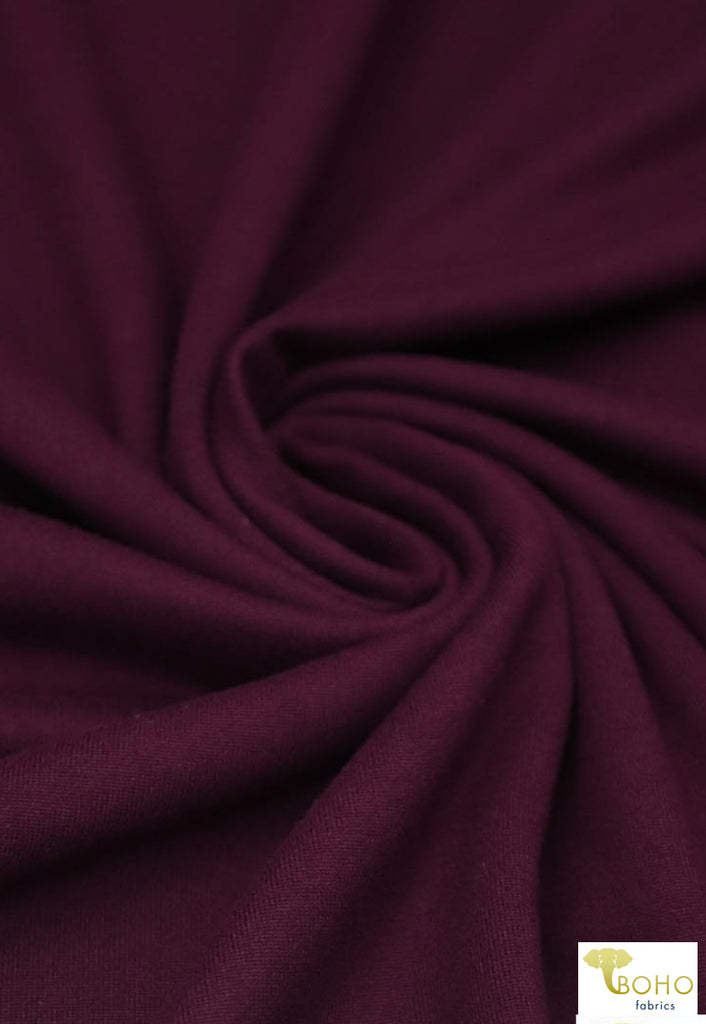 Wine (Deep Red/Purple). Double Brushed Poly Knit Fabric. BPS-204