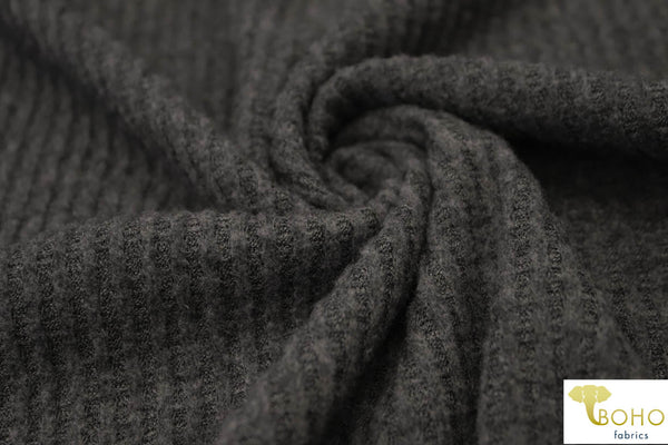 Charcoal 2-Tone. Brushed Waffle Knit Fabric. BWAF-707-CH