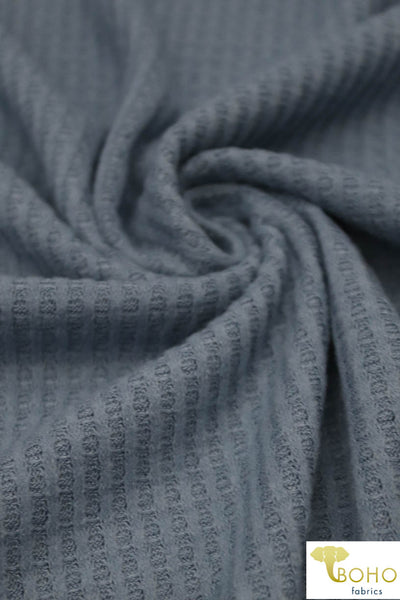 Brushed Waffle:  Steel Denim. Knit Fabric. BWAF-707-DS