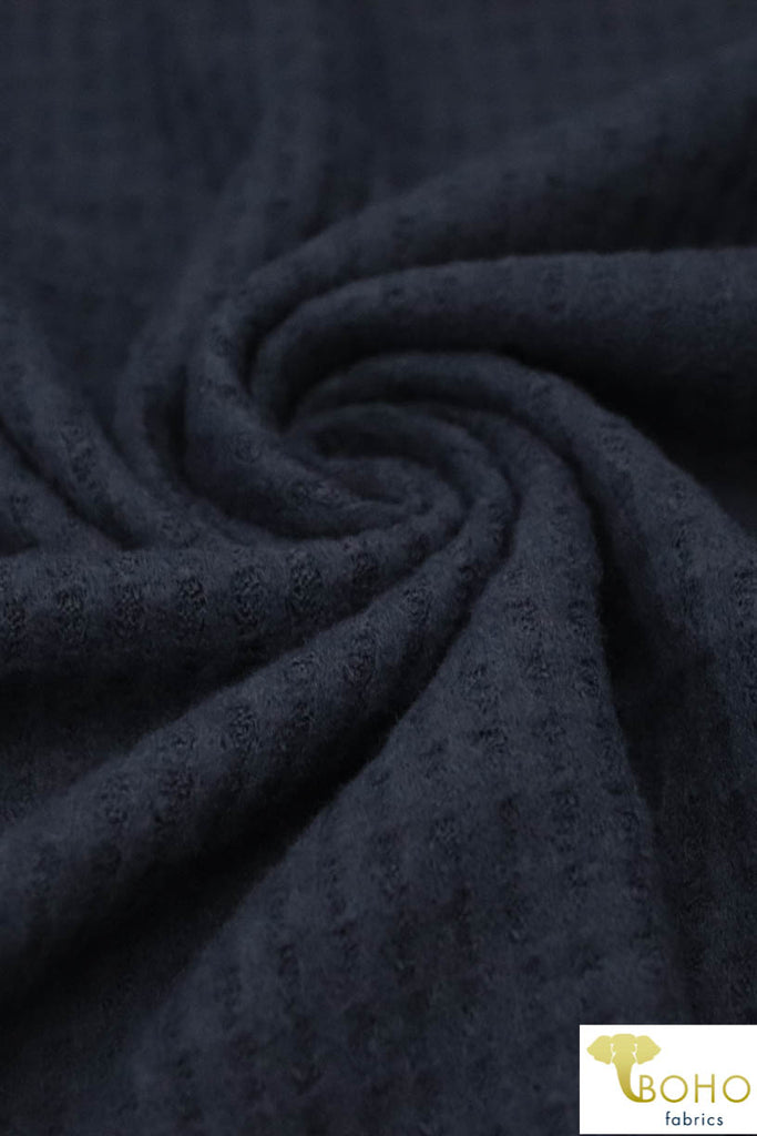 Navy. Brushed Waffle Knit Fabric. BWAF-707-NVY