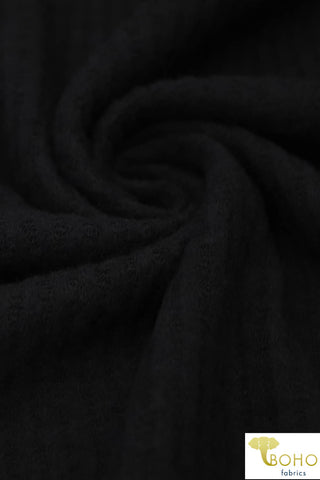 Black. Brushed Waffle Knit Fabric. BWAF-707-BLK