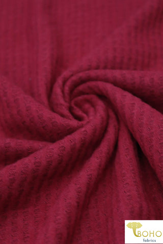 Ruby. Brushed Waffle Knit Fabric. BWAF-707-RBY
