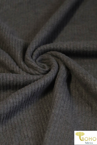 Dark Gray. Ribbed Brushed Tri-Blend Sweater Solid. 770-2X2-HAC RIB-G-DK