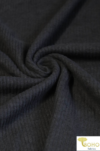 Charcoal. Ribbed Brushed Tri-Blend Sweater Solid. 770-2X2-HAC RIB-CH
