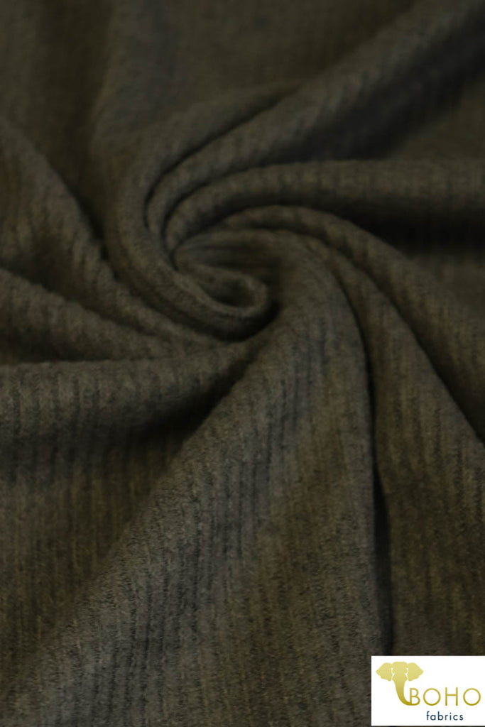 Olive. Ribbed Brushed Tri-Blend Sweater Solid. 770-2X2-HAC RIB-OLV
