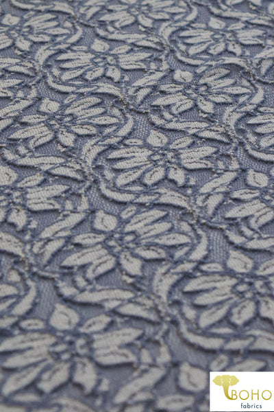Renaissance Florals in White and Dusty Blue. Stretch Lace Knit. SL-120