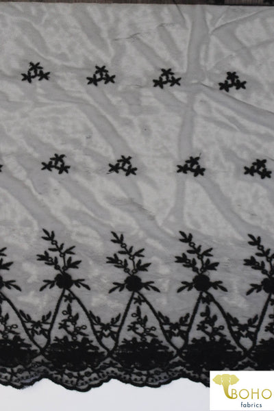 Embroidered Parisian Flowers on Black. Double Scallop Stretch Mesh. SM-118