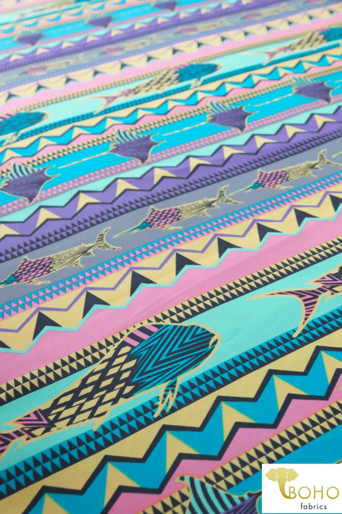 Psychedelic Sealife Boardshort Print. Swim/Activewear. Poly Microfiber Woven Fabric