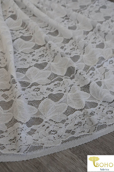 Delicate Leaves and Floral Stripes in White. Stretch Lace Knit. SL-113