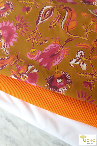 Gold Shimmer on Charcoal Gray. French Terry Knit. FT-118