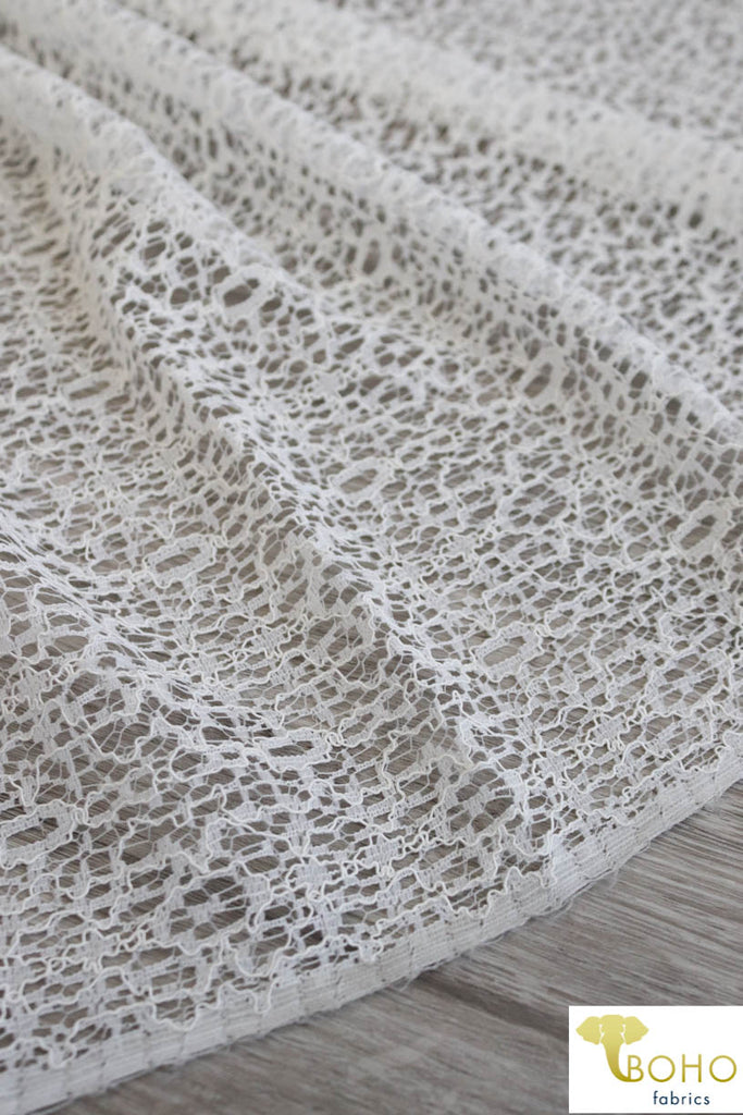 Scribbled Web in Off White. Woven Mesh Lace. WV-126