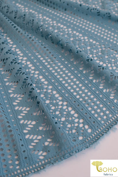 Geometric Waves in Light Blue. Stretch Lace Knit. SL-114-BLU